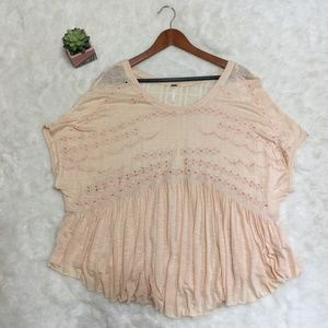 Free People Light Peach Eyelet Tunic